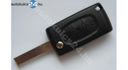 Peugeot bicskakulcs 3 gombos HU83 szárral világítás gomb